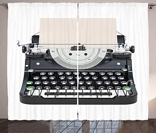 ABAKUHAUS Schreibmaschine Rustikaler Vorhang, Alte mechanische Tastatur, Wohnzimmer Universalband Gardinen mit Schlaufen und Haken, 280 x 175 cm, Dunkelblau Grau Champagne Pale Mint Green