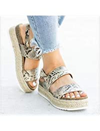 lowest price 43edc 0eefd Summer Leopard Sandals High Heels Wedges PU Platform Women Sandals for  Female Buckle Strap Comfort Casual Ladies Shoes Plus Size…