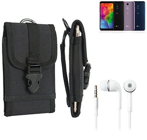 K-S-Trade Schutzhülle für LG Electronics Q7 Alfa Gürteltasche Gürtel Tasche extrem robuste Handy Schutz Hülle Tasche Outdoor Handyhülle schwarz 1x + Kopfhörer