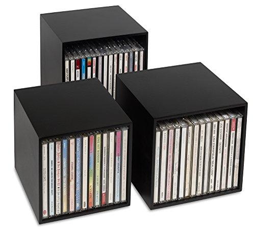 cubix CD-Box Black - CD-Boxen aus Holz: 3 CD-Boxen in Einem. Für bis zu 40 Musik-CDs. Dekorative Holzcubes in ansprechendem Design. Schöner kann Man CDs Nicht archivieren, sammeln, ordnen schüt