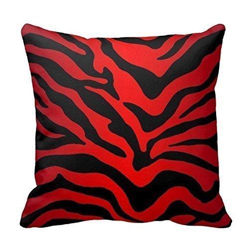 Roter und schwarzer Zebradruck Streifen Animal Print Dekokissenbezug Dekokissen Covernch Square 18