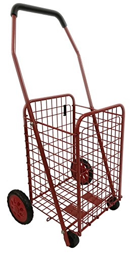 Bo Time 3760278736199 Einkaufstrolley, Metall, faltbar, Kapazität 43 l, Farbe: Rot, 4 Räder, ohne Tasche
