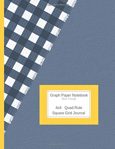 Graph Paper Notebook Blue Triangle: Large Quad Rule 4x4 Square Grid Journal (Graph Paper 4x4 Book, Band 14) -