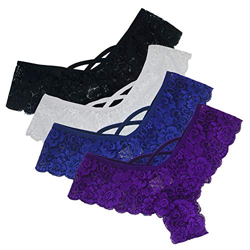 Lialbert 4er-Pack Damen Tangas Frauen Unterwäsche Soft Spitze G-Strings Slips Dessous Reizwäsche(Schwarz, Blau, Lila, Weiß)