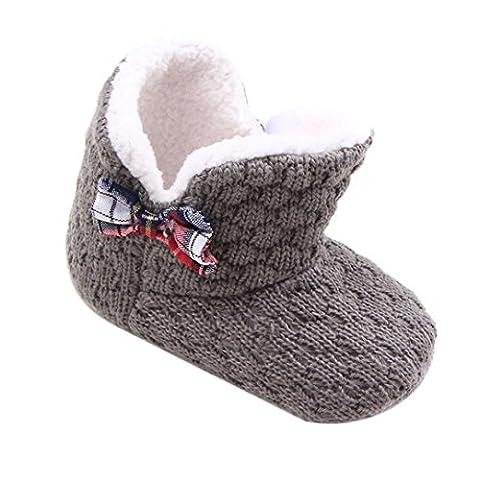 Saingace® Krabbelschuhe boots,Baby-Kleinkind Säuglingsmädchen -Bogen-Schnee-Aufladungen weiche Sohle prewalker Krippe Schuhe