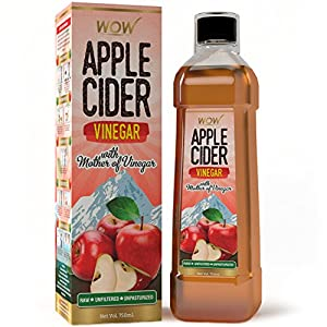 WOW Organic Raw Apple Cider Vinegar – with strand of mother – Not from concentrate – 750mL
