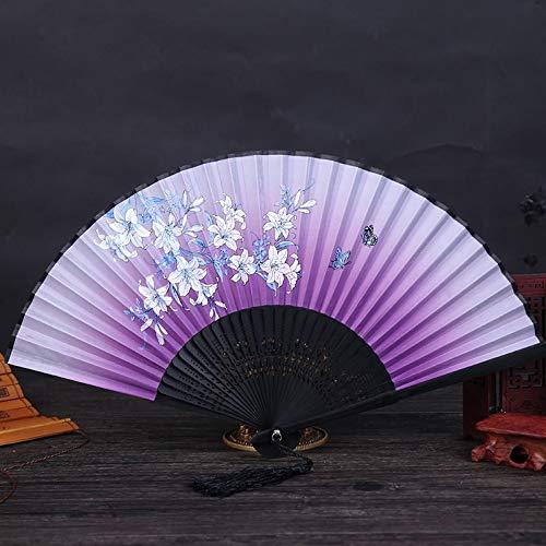 Folding Fan Seide Natur Bambus Im Chinesischen Stil Klassische Handwerk Ventilator Dekoration Dance Party Frau Sommer Kühl Portable Täglichen Ventilator Lila Lilie Blume