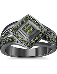 Silvernshine 1.35Ctw Round Cut Green Peridot Sim Diamonds 14K Black Gold Plated Engagement Ring