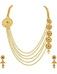 Asmitta Divine Jalebi Design Gold Plated Matinee Style LCT Stone Necklace Set For Women