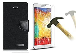 Online Street Wallet Style Cover And Tempered Glass For Samsung Galaxy J5- (Dark Black+ Tempered)