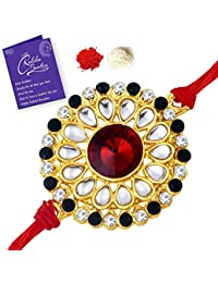 Sukkhi Blossomy Designer Floral Gold Plated rakhi with Roli Chawal and Raksha Bandhan Greeting Card For Men