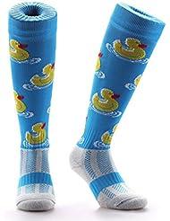 Samson Hosiery ® Rubber Duck Print Funky Novelty Fashion Gift Socks Football Rugby Sports And Casual Knee High Socks For Men Women Kids Unisex