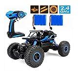 Ferngesteuertes Autos,RC Auto Rock Crawler,1:18 Ferngesteuertes Monstertruck,4WD Elektrisches Offroad Fahrzeug (Blau)