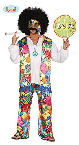 buntes Regenbogen Hippe Blumen Kostüm für Herren in Größe M - L, Größe:L (Kiffer Kostüm)