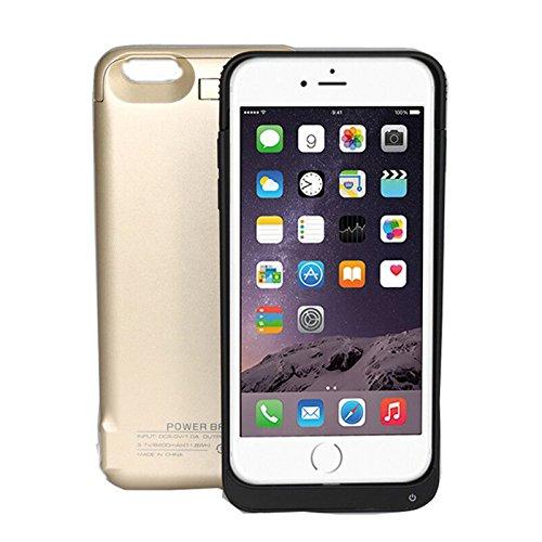 iPhone 6 Plus Akku Hülle LifeePro 8200mAh Ultra Dünn Externer Akku Case Aufladbar Batterie Ladehülle Integrierten Ersatzakku Ladegerät Power Bank Backup Extra Pack Schutzhülle für iPhone 6 Plus Weiß Golden