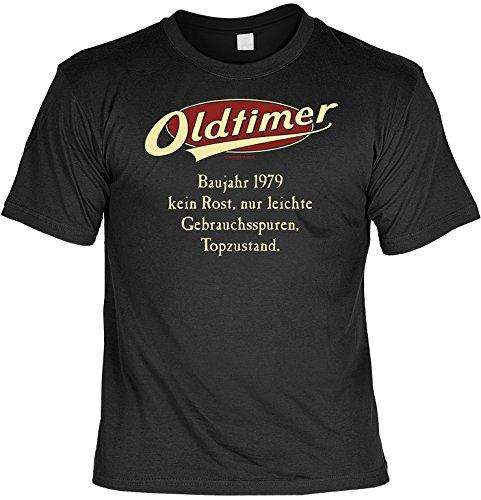 Jahrgangs-Spaß-Fun-Shirt-Set inkl. Mini-Shirt/Flaschendeko: Oldtimer Baujahr 1979 - geniales Geschenk Schwarz