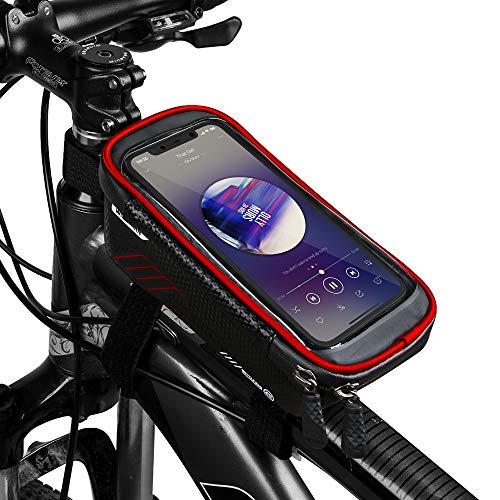 COPOZZ Wasserdicht Fahrrad Rahmentasche Handy Fahrradtasche LenkerTasche Oberrohrtasche Mountainbike Rahmen Tasche Handyhalterung Handytasche for Smartphone iPhone 6.5 Zoll -