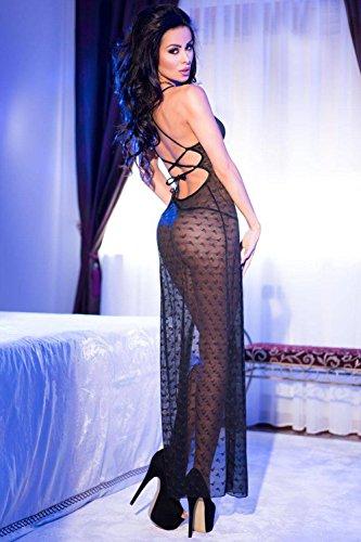 Chilirose Damen Dessous Langes Kleid mit String Schwarz