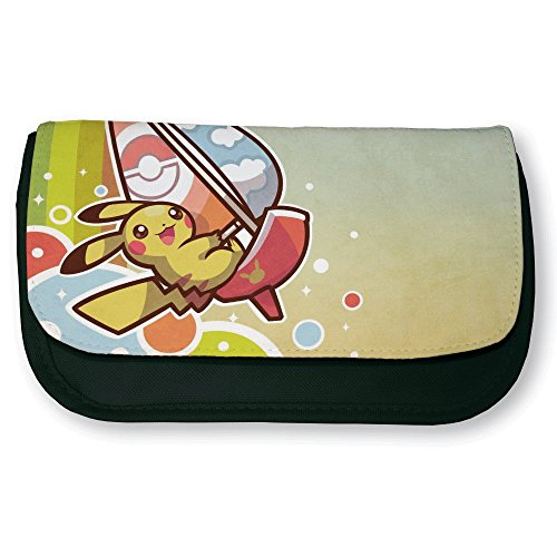 Trousse noire de maquillage ou d'école Pikachu rainbow boat Kawaii Pokemon - Fabriqué en France - Chamalow shop