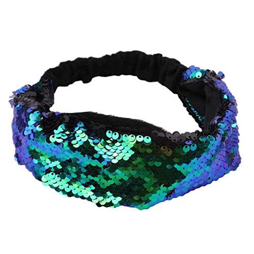 SEVENHOPE Sparkly Pailletten Glitter Stirnbänder Haarbänder Haar Kopf Wickeln Verschiedene Accessoires für Frauen Mädchen (blau Pfau blau)