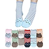TININNA Damen Frauen 6 Paar Niedlich Katze Gestreift Socken Wintersocken Damensocken