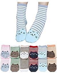 Tininna 6paires Hiver chaud Chat mignon rayé Chaussettes Mélange de coton Crew Chaussettes pour femmes