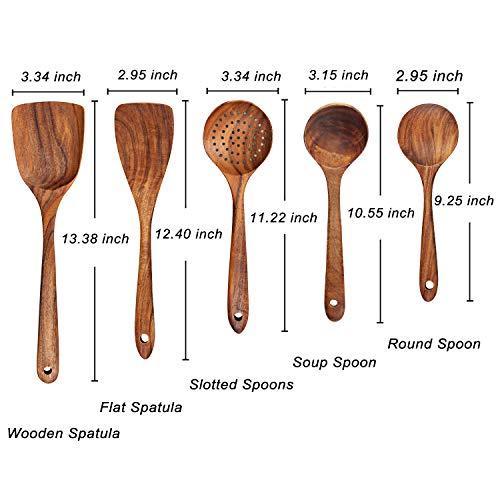 AOOSY Küchenhelfer Set Holz,5 Stück Küchenutensilien-Sets,Kochutensilien-Set aus Holz im japanischen Stil Kratzfeste Utensilien-Sets einschließlich Holzspatellöffel für Antihaft-Pfannen - 3