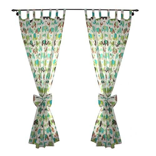 Gardinen mit Dekoschal 155x100cm 2er Set, Farbe: Elefant Mint, Größe: ca. 155x100 cm (Mint Grüne Dekorationen)