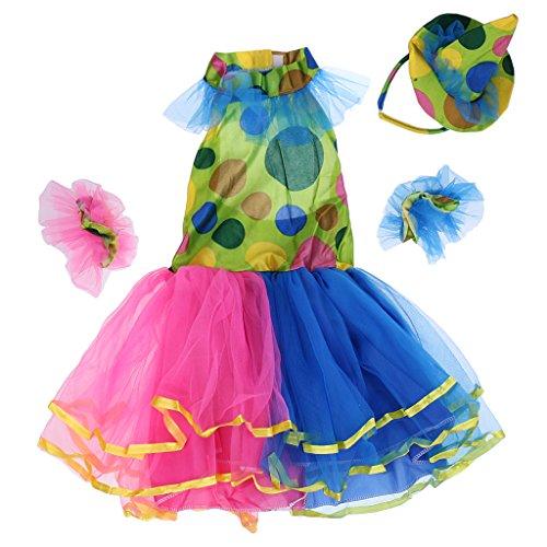 Gazechimp Halloween Clown Kostüm Zirkus Harlekin Kostüm für Kinder Mädchen - Tütü Kleid, Mini Hut und Armband - (Zirkus Kostüm Dot Polka)