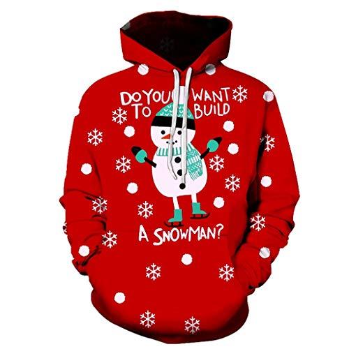 LILICAT Donne Uomo Stampare Natale Pullover Halloween Vestiti di Coppia Lungo Manica Unisex Maglione Casuale Autunno e Inverno Felpa con Cappuccio(D Rosso,3XL)