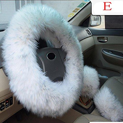 Ansenesna Neue warme und durchlässigkeit fleece-Car-Lenkrad-Abdeckung,hand Bremse Shift,1 Sätze von 3 Stücken,Kfz-Lenkrad Pelz Sleeve (Graue Haarfarbe)