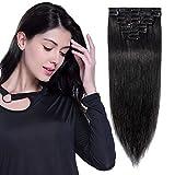 Extension a clip Cheveux Naturel Rajout Cheveux Humain Noir Lisse 8 Bandes Epaisseur Fine - #1 NOIR FONCE 50cm-70g
