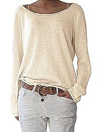 871a755a87db0c Simple-Fashion Maglietta Donna Casual Sciolto Maglioni Bluse di Colore  Solido Quotidiani Camicie Jumper T