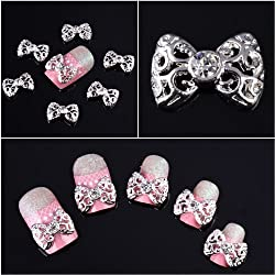 350buy 10x Silver 3D Carve Alloy Rhinestones Bow Tie Nail Art DIY Decorations