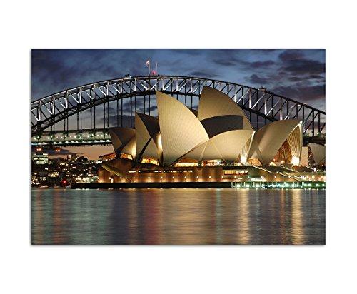 120x80cm - Fotodruck auf Leinwand und Rahmen Sydney Oper Harbour Bridge Nacht - Leinwandbild auf Keilrahmen modern stilvoll - Bilder und Dekoration