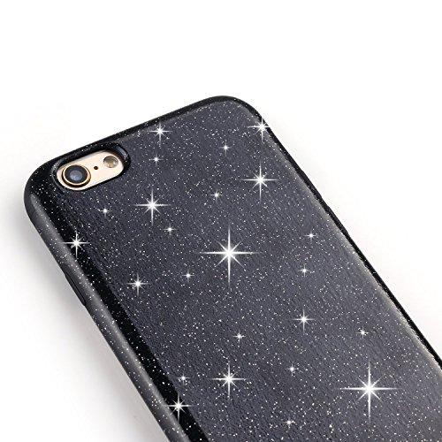 TENDLIN Coque iPhone 6s Plus Bling Glitter et Flexible TPU Silicone Hybride Souple Housse Etui pour iPhone 6 Plus et iPhone 6s Plus, Rose Noir
