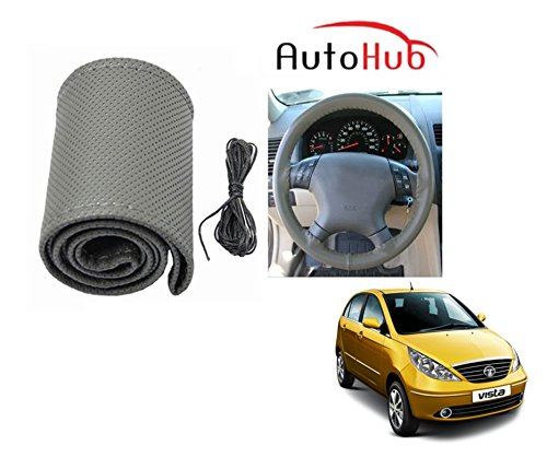 Auto Hub Premium Quality Car Steering Wheel Cover For Tata Indica Vista - Grey  available at amazon for Rs.199