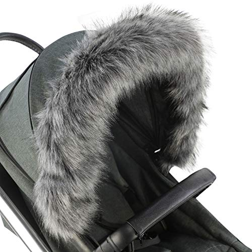 For-Your-Little-One Fur Hood Trim Pram Compatible on Silver Cross, Dark Grey