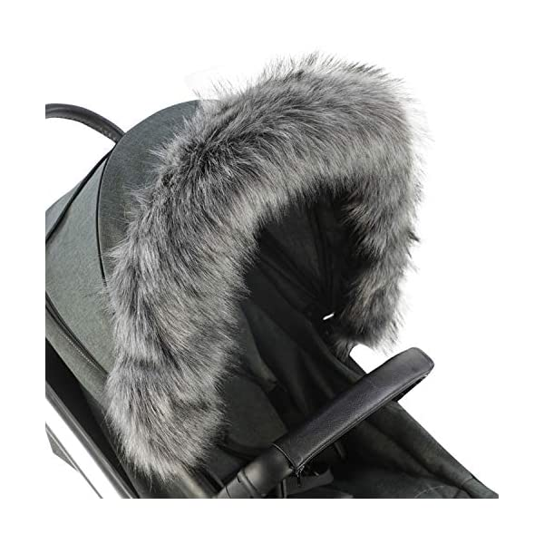 For-Your-Little-One Fur Hood Trim Pram Compatible on Aubert, Dark Grey For-your-Little-One Universal faux fur Snap buttons to attach Deluxe feel 1