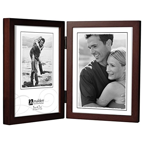 Malden International Designs Dark Walnut Concept Wood Picture Frame, Double Vertical, 2-5x7, Walnut