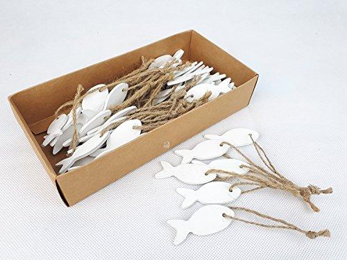 Florissima 60x Fische an Naturkordel 5cm Hänger Deko Streudeko weiß Holz Kommunion Konfirmation Taufe Hochzeit Tischdeko Maritim Strand Sommer Sealife