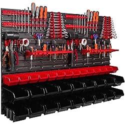 Étagère murale porte-outils 1152 x 780 mm, 32 pièces Étagère de rangement modulable pour outils avec boites de rangement.