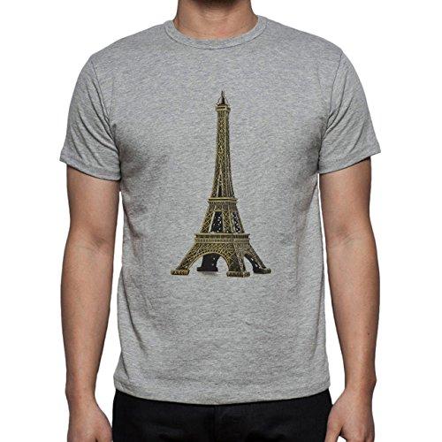 The Eiffel Tower Mettalic Paris Herren T-Shirt Grau