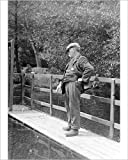 Photographic Print of Edwardian man by pool at Ellesmere, Shropshire