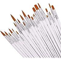 DaKuan - Juego de pinceles de nailon para pintar (24 unidades, acrílico, redondos, planos, para artistas, niños, aulas, etc.)