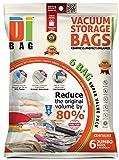 Housses de rangement sous vide - 6 sacs 130x90 cm de voyages pour économiser de l'espace - Sac de compression aspirable pour ranger et emballer vêtements, couettes, lit et valise - DIBAG