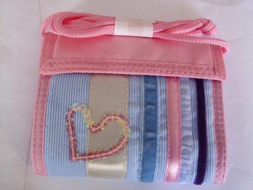 STYLE - Geldbeutel, Brusttasche Umhängegeldbeute mit Klettverschluss und Herz. Farbe: Rosa / Hellblau / Lila mit Samt Streifen. (Samt Geldbörse Herz)