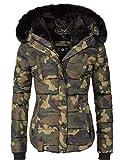 Marikoo Damen Winter Jacke Steppjacke Lotusblüte (vegan hergestellt) Camouflage Gr. M