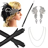Beelittle 1920s Accesorios Set Diadema, Collar, Guantes, Porta-Cigarrillos Great Gatsby Disfraces Set para Mujeres (E3)