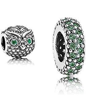 Original Pandora Geschenkset - 1 Silber Zwischenelement Pavé-Inspiration 791359CZN und 1 Silber Charm Weise Eule...